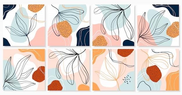 Collection Abstraite D'arrière-plans Avec Un Design Branché Contemporain, Des Formes Et Des Plantes Décoratives, Des Couleurs Pastel Vecteur Premium