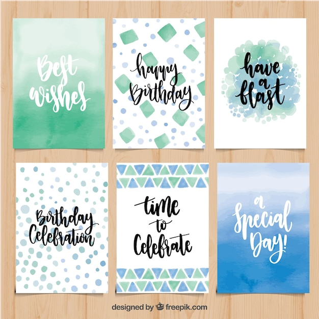 Collection Abstraite De Cartes D'anniversaire Avec Des Phrases Vecteur gratuit