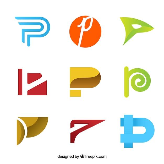 Collection abstraite du logo lettre c Vecteur gratuit