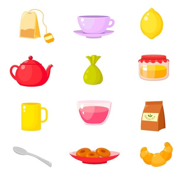 Collection d'accessoires de cérémonie du thé Vecteur Premium