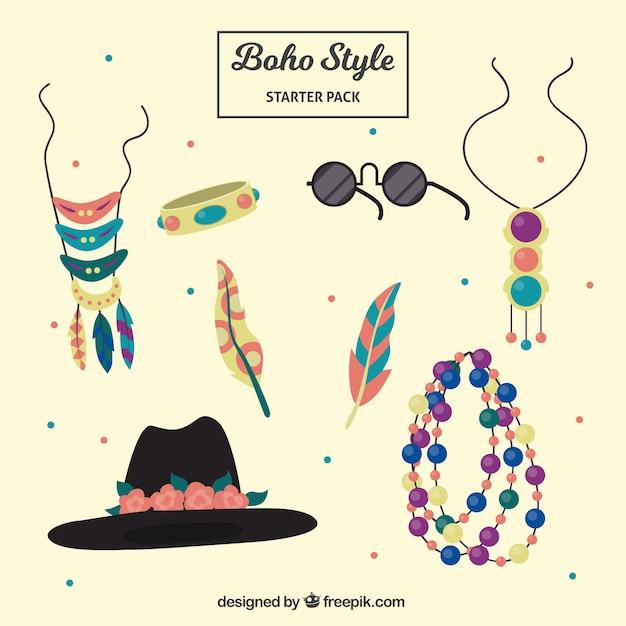 Collection d'accessoires de mode dans le style boho Vecteur gratuit