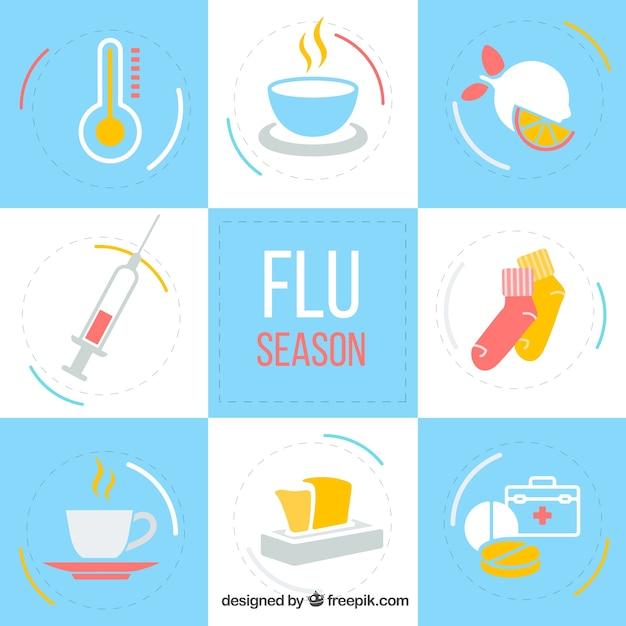 Collection D'accessoires De La Saison De La Grippe Vecteur gratuit