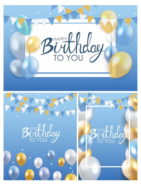 Collection d'affiches brillante joyeux anniversaire ballons Vecteur Premium
