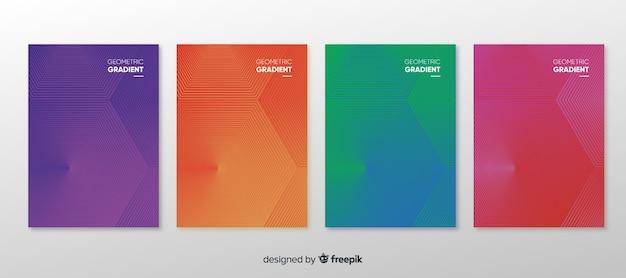 Collection d'affiches dégradé géométrique Vecteur gratuit