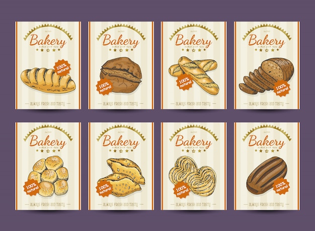 Collection d'affiches avec divers produits de boulangerie Vecteur Premium