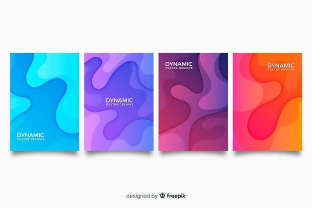 Collection d'affiches dynamiques Vecteur gratuit