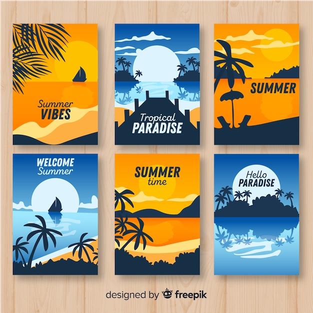 Collection d'affiches d'été colorées Vecteur gratuit