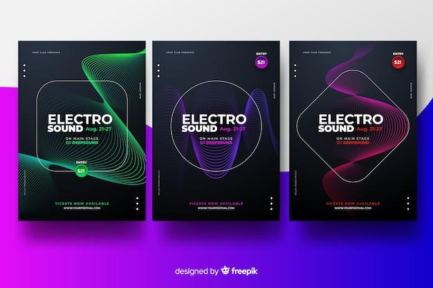 Collection d'affiches de festivals de musique électronique Vecteur gratuit