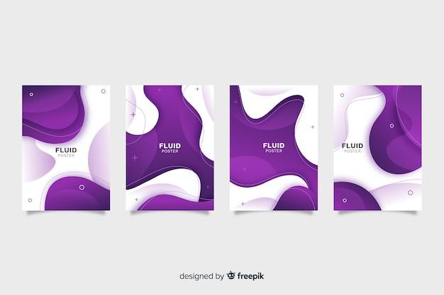 Collection D'affiches Fluides Vecteur gratuit