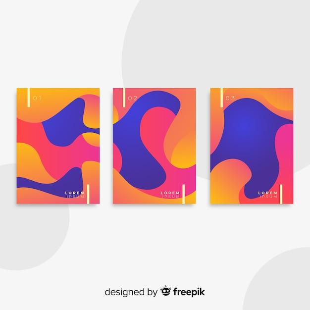 Collection d'affiches de formes fluides Vecteur gratuit