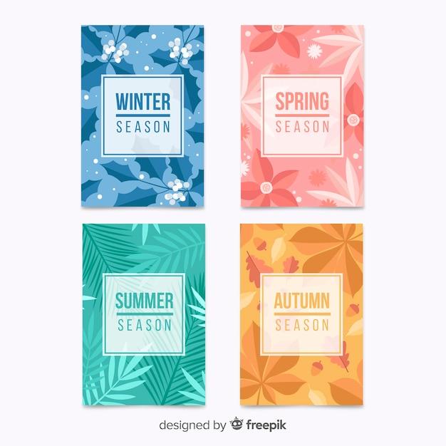 Collection d'affiches saisonnières colorées dessinées à la main Vecteur gratuit