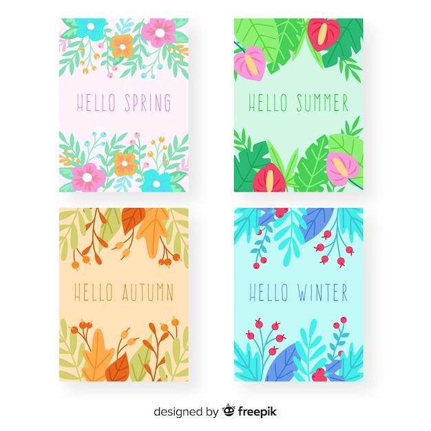Collection d'affiches saisonnières dessinées à la main Vecteur gratuit