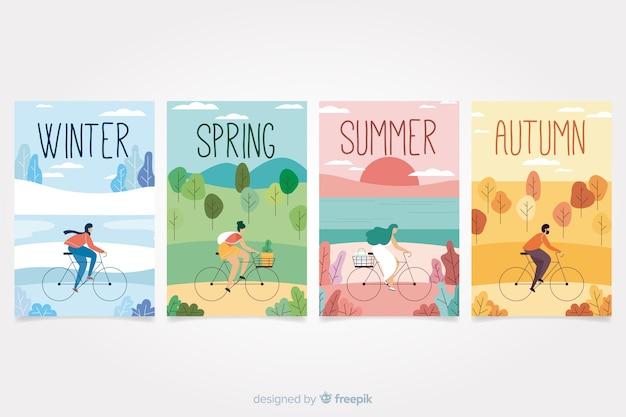 Collection d'affiches saisonnières dessinés à la main colorée Vecteur gratuit