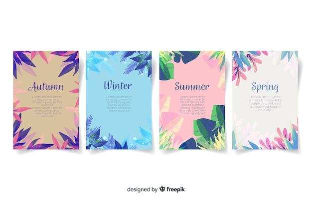 Collection d'affiches saisonnières de style aquarelle Vecteur gratuit