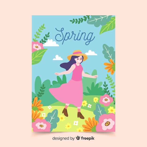 Collection D'affiches Saisonnières De Style Dessiné à La Main Vecteur gratuit