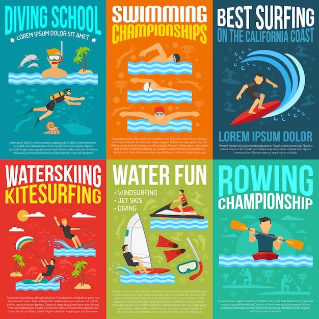 Collection d'affiches de sports nautiques Vecteur gratuit