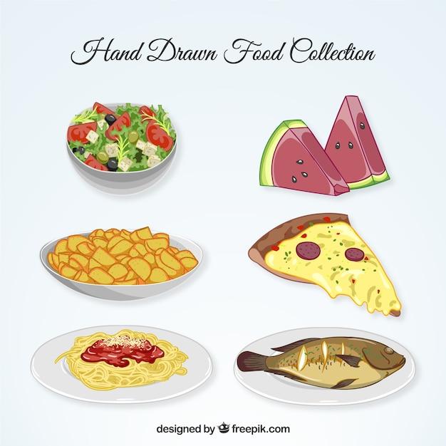 Collection alimentaire dessiné à la main Vecteur gratuit