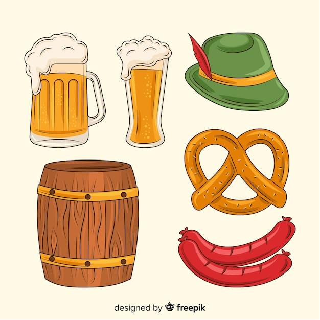 Collection d'aliments et de bières oktoberfest dessinés à la main Vecteur gratuit