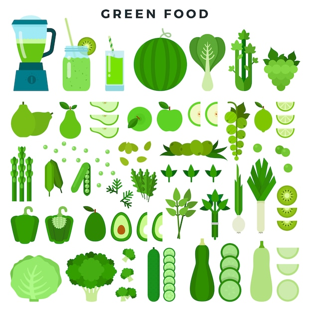 Collection d'aliments colorés en vert: légumes, fruits et jus, jeu d'icônes plat. Vecteur Premium