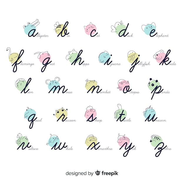 Collection D'alphabet D'animal De Dessin Animé Vecteur gratuit