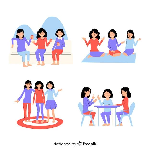 Collection d'amis passer du temps ensemble Vecteur gratuit