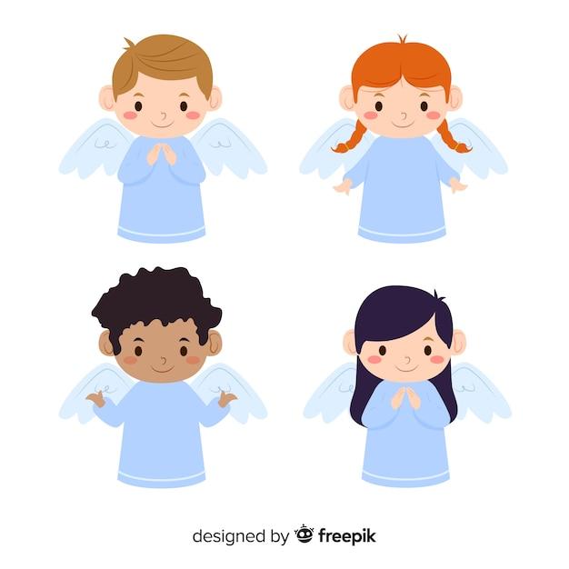 Collection d'anges anges plats Vecteur gratuit