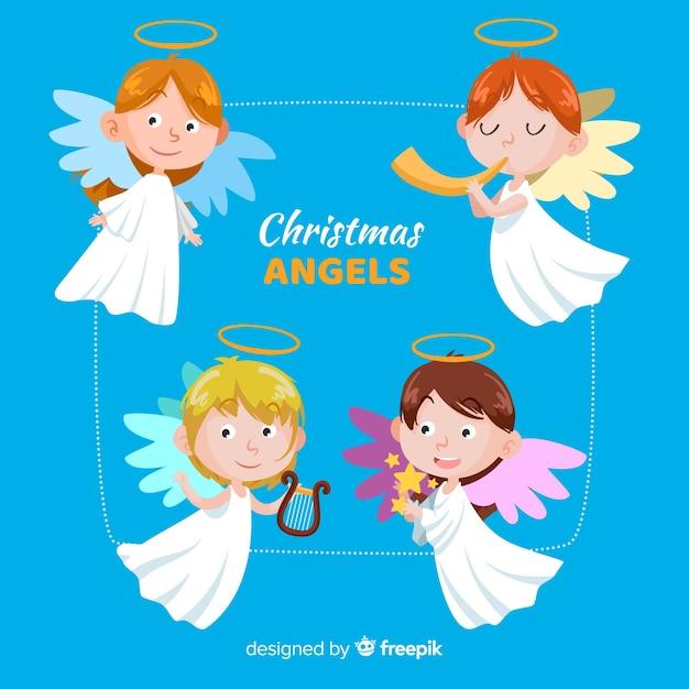 Collection d'anges drôles de noël Vecteur gratuit