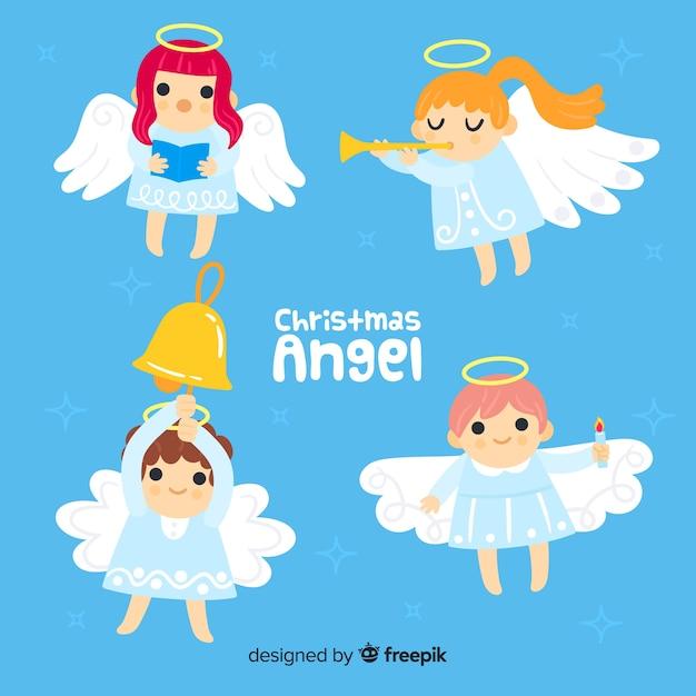 Collection d'anges musicaux Vecteur gratuit