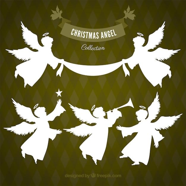 Collection D'anges De Noël Blanc Vecteur gratuit