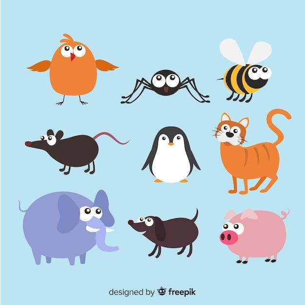 Collection animale dans le style des enfants Vecteur gratuit