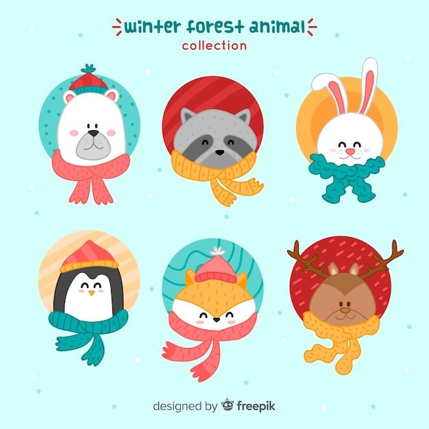 Collection d'animaux adaptée à l'hiver Vecteur gratuit