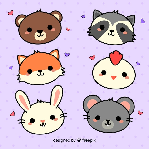 Collection D'animaux Adorables Dessinés à La Main Vecteur gratuit