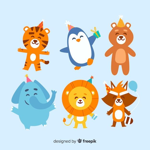 Collection d'animaux d'anniversaire Vecteur gratuit