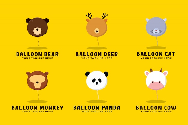 Collection D'animaux En Ballon Avec Illustration De Logo De Style Plat Vecteur Premium