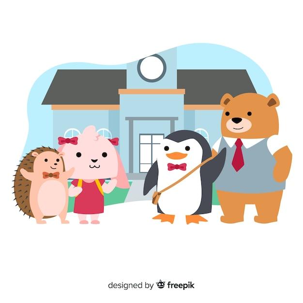 Collection d'animaux de dessin animé de bach à l'école Vecteur gratuit