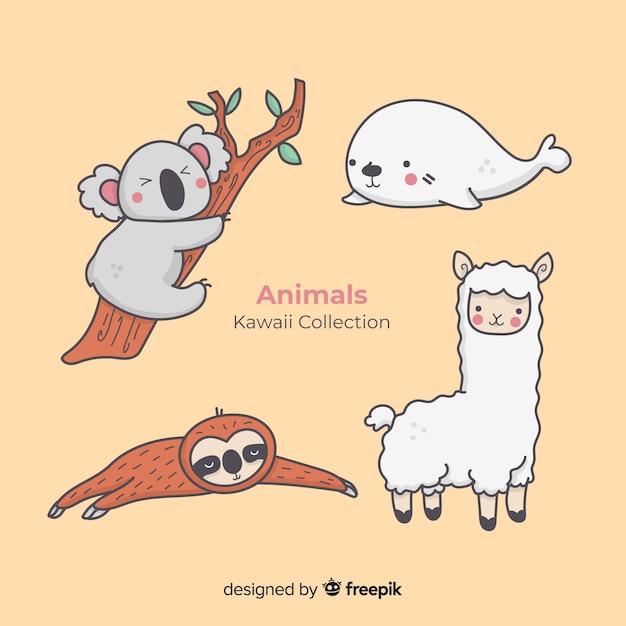 Collection D'animaux Dessinés à La Main Kawaii Vecteur Premium