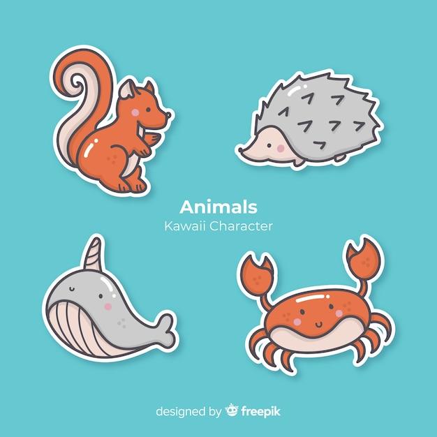 Collection d'animaux dessinés à la main kawaii Vecteur gratuit