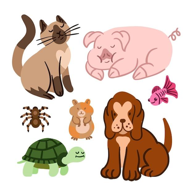 Collection D'animaux Différents Vecteur gratuit