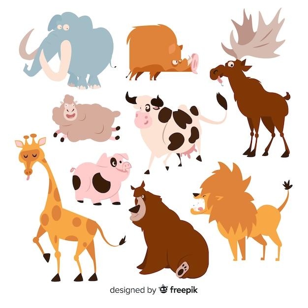Collection d'animaux drôles de dessin animé Vecteur gratuit