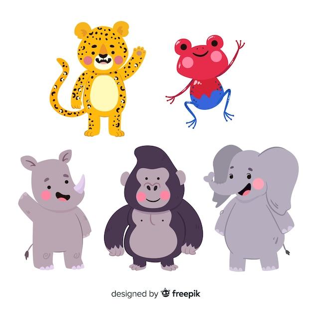 Collection d'animaux exotiques dessinée à la main Vecteur gratuit