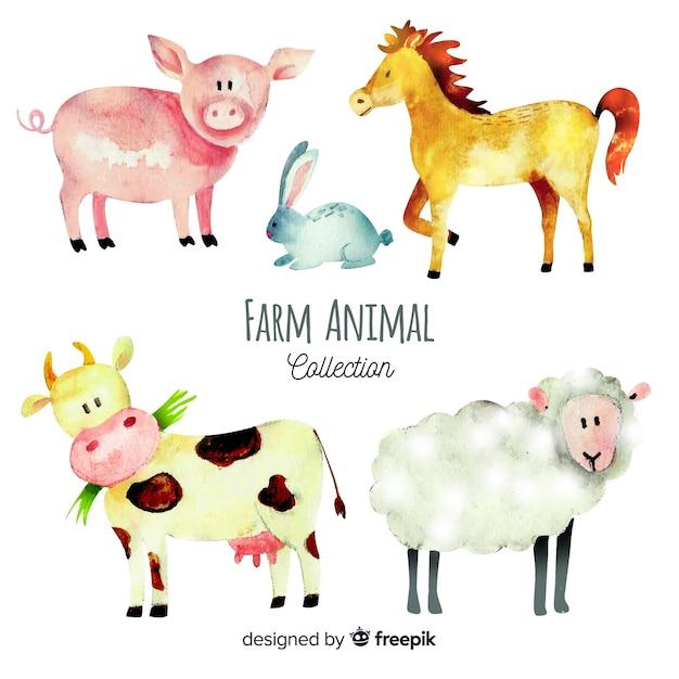 Collection d'animaux de ferme dans un style aquarelle Vecteur gratuit