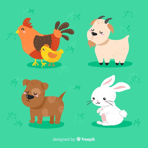 Collection d'animaux de ferme dessinés à la main Vecteur gratuit