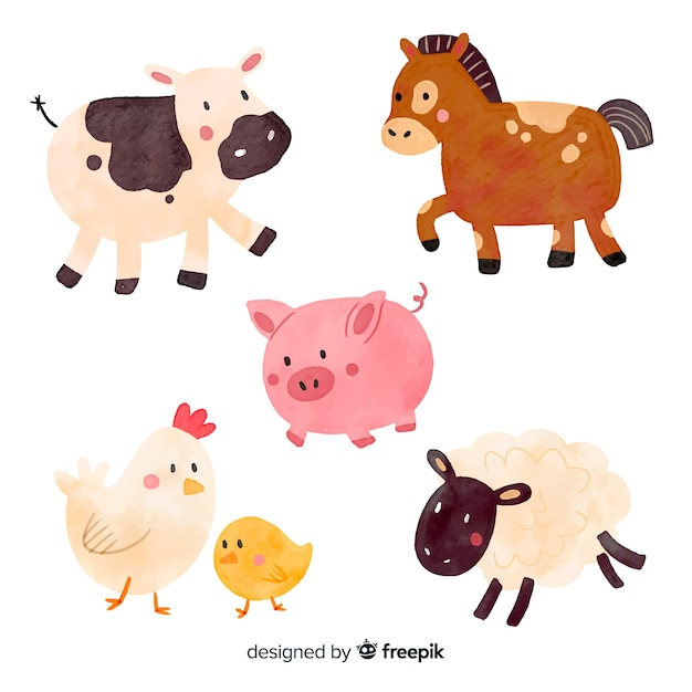 Collection d'animaux de ferme Vecteur gratuit