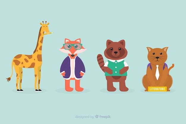 Collection d'animaux de la fête de la rentrée des classes Vecteur gratuit