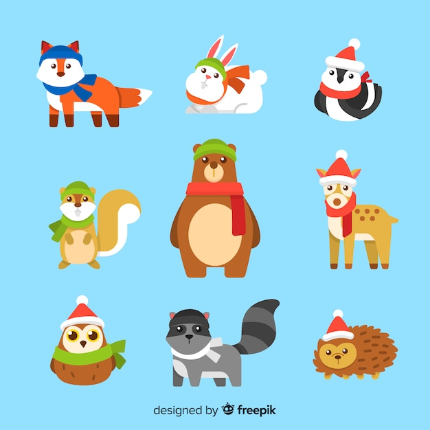 Collection d'animaux forestiers d'hiver Vecteur gratuit