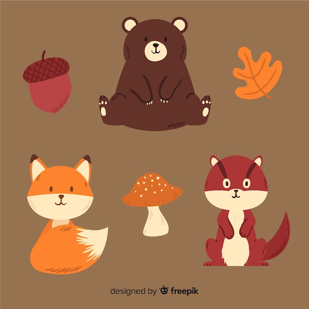 Collection d'animaux de la forêt automne dessinés à la main Vecteur gratuit