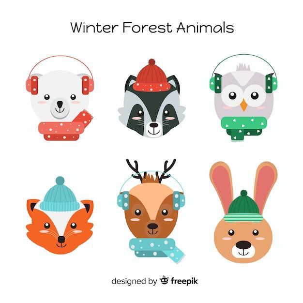 Collection d'animaux de la forêt d'hiver Vecteur gratuit