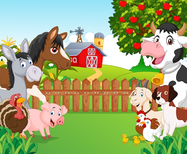 Collection d'animaux heureux cartoon Vecteur Premium