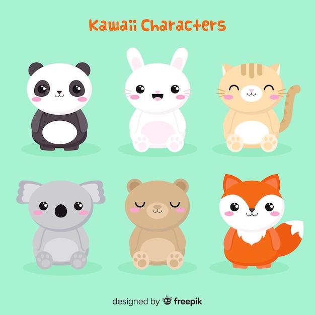 Collection d'animaux kawaii plats Vecteur gratuit