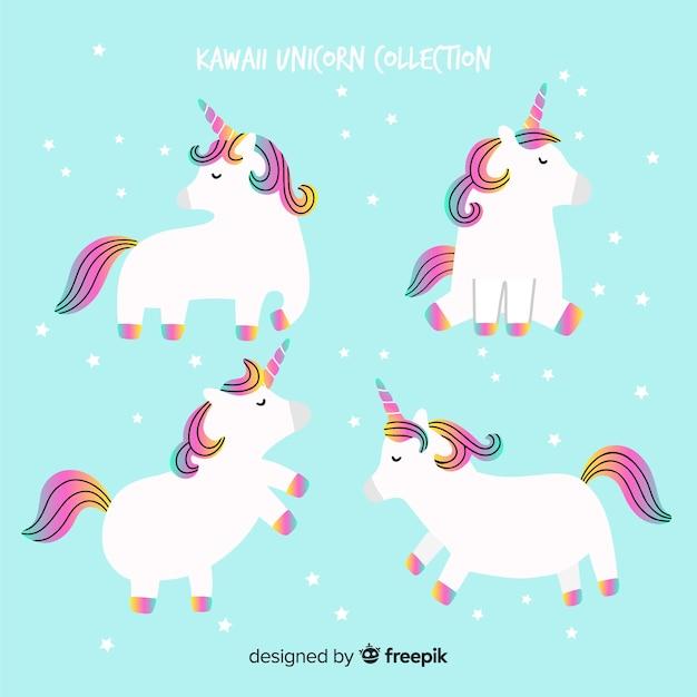 Collection d'animaux licornes kawaii Vecteur gratuit